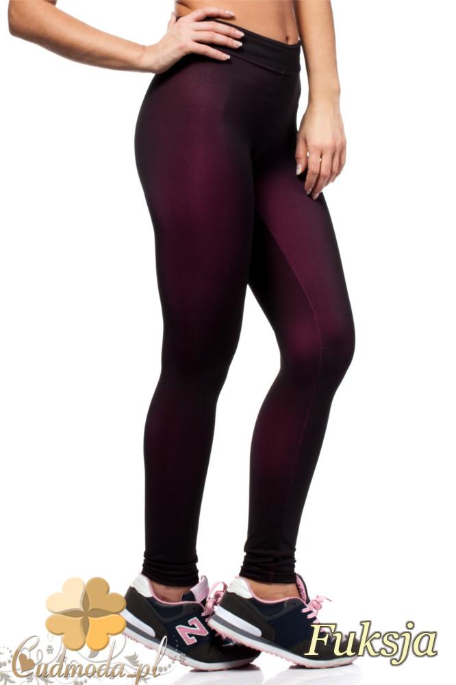 CM1435 Neonowe dopasowane legginsy damskie - fuksja