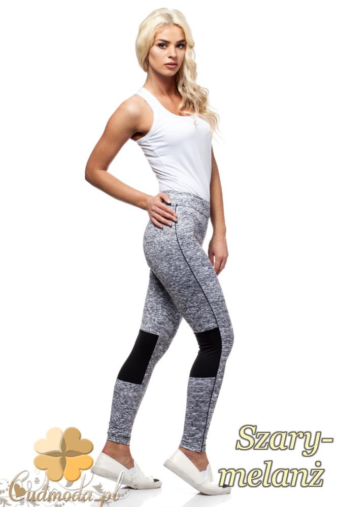 CM1436 Wyszczuplające legginsy ze wstawką na wysokości kolana - szary-melanż