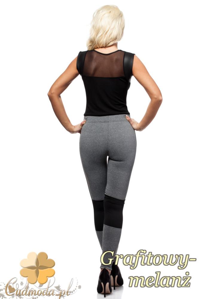 CM1436 Wyszczuplające legginsy ze wstawką na wysokości kolana - grafitowy-melanż