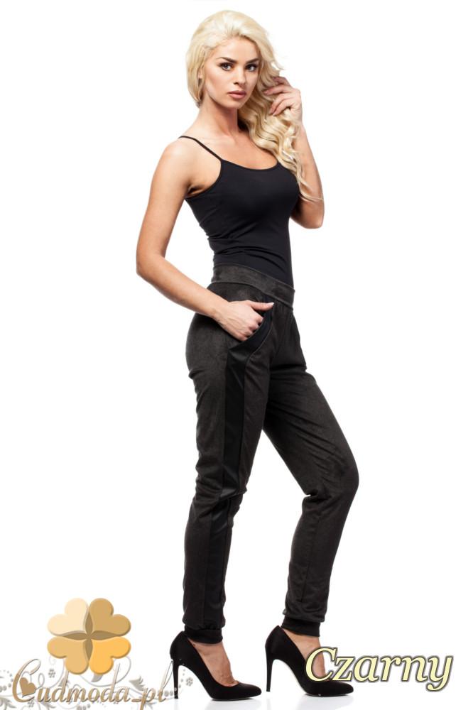 CM1437 Stylowe legginsy damskie z lampasem - czarne