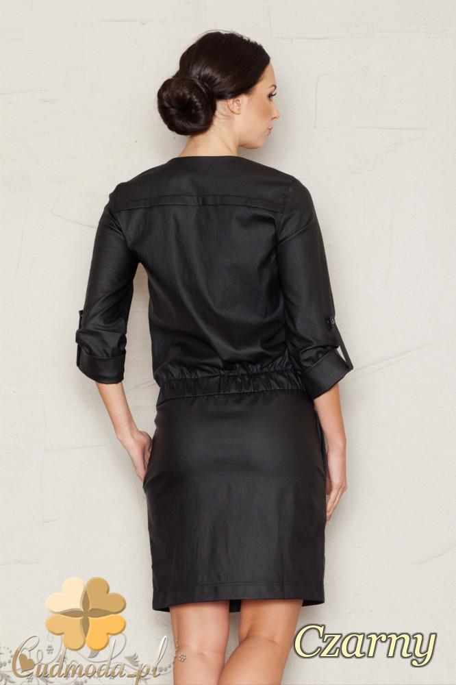 CM1442 Stylowa sukienka wieczorowa na napy - czarna