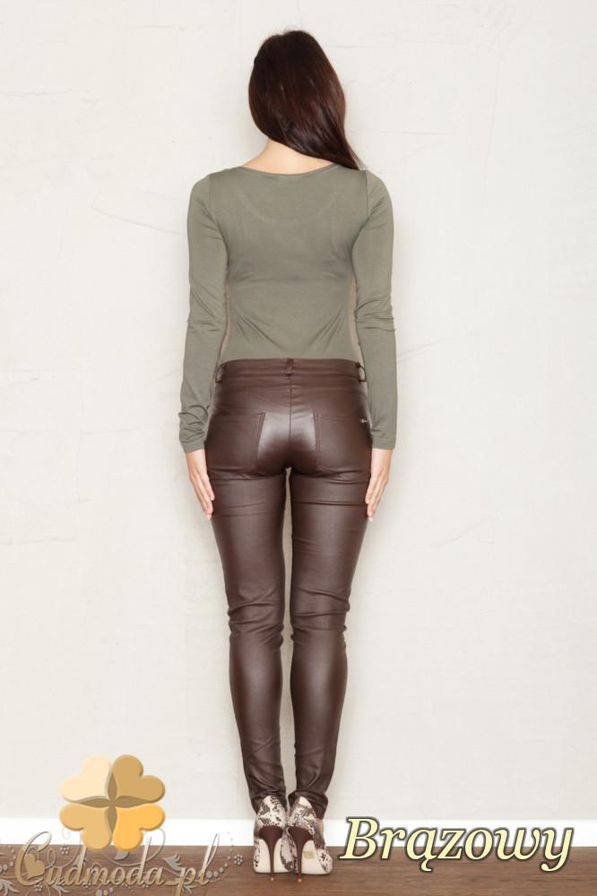 CM1443 Dopasowane elastyczne spodnie-rurki damskie - brązowe