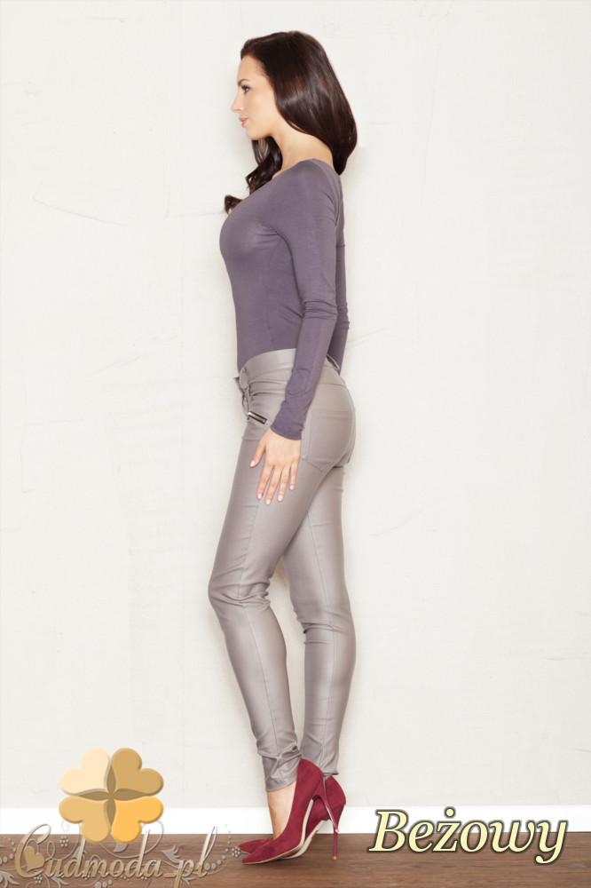 CM1443 Dopasowane elastyczne spodnie-rurki damskie - beżowe