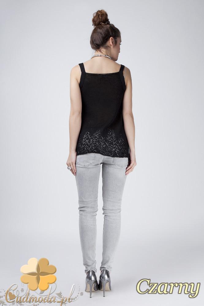 WYCOFANY Ażurowy sweter damski na ramiączkach - czarny