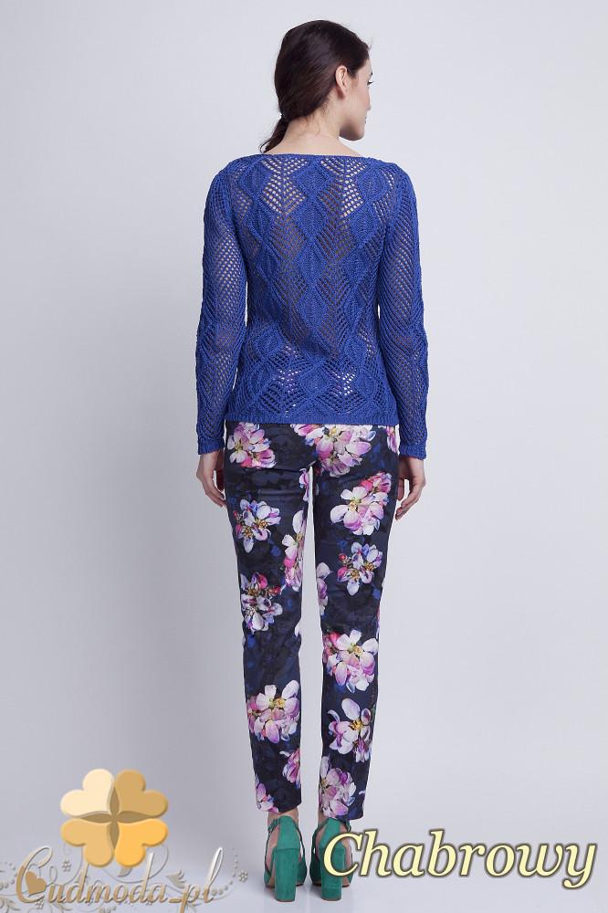 WYCOFANY Damski sweter geometryczny z długim rękawem - chabrowy