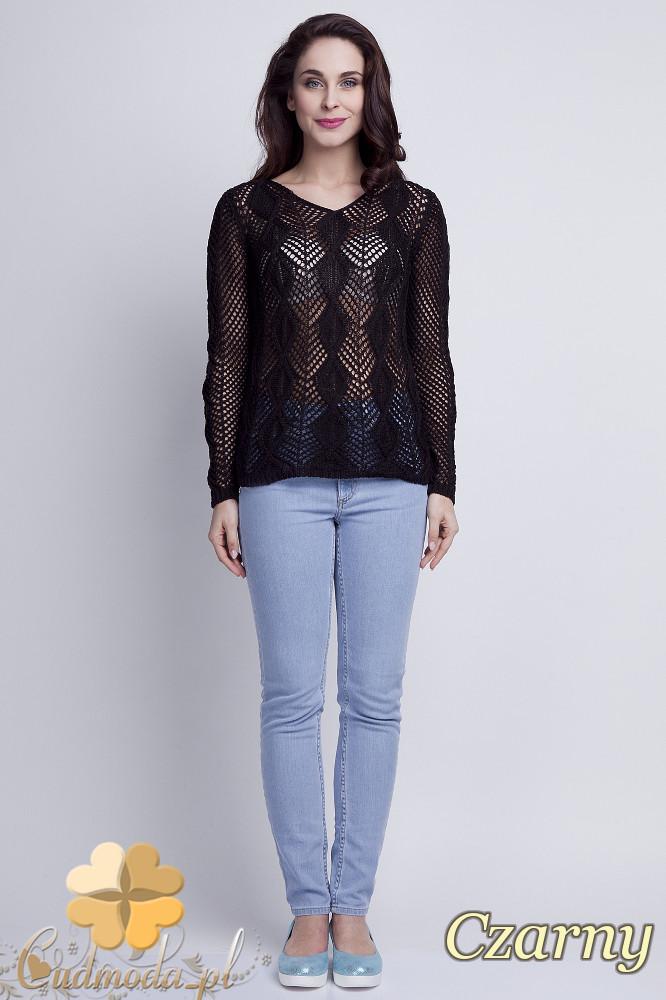 WYCOFANY Damski sweter geometryczny z długim rękawem - czarny