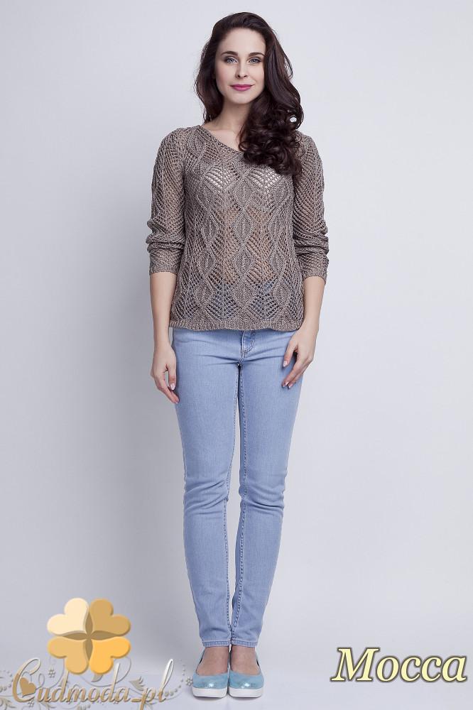WYCOFANY Damski sweter geometryczny z długim rękawem - cappuccino