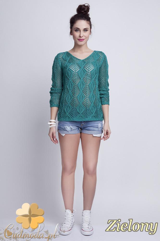 WYCOFANY Damski sweter geometryczny z długim rękawem - zielony
