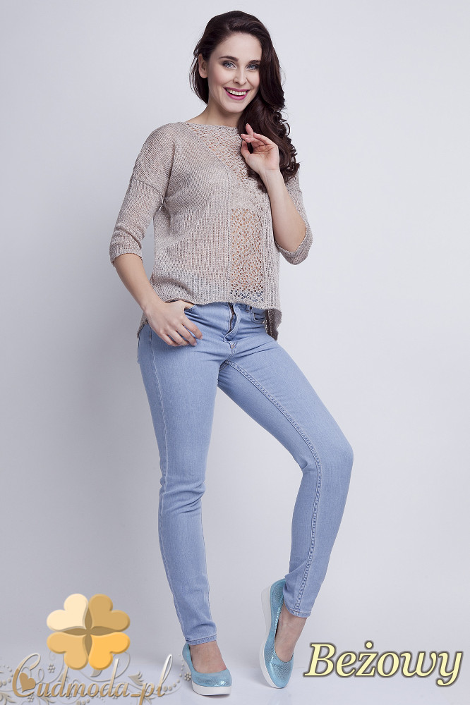 WYCOFANY Asymetryczny damski sweter z rękawem 1/2 - beżowy