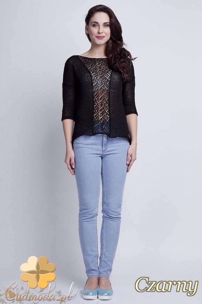 WYCOFANY Asymetryczny damski sweter z rękawem 1/2 - czarny