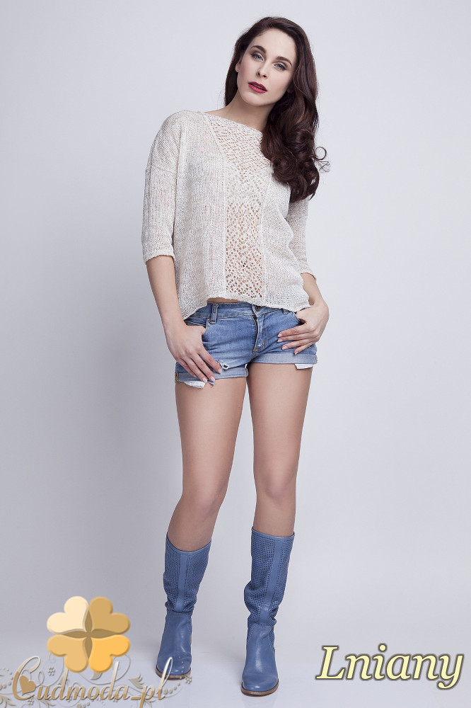 WYCOFANY Asymetryczny damski sweter z rękawem 1/2 - lniany