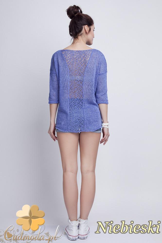 WYCOFANY Asymetryczny damski sweter z rękawem 1/2 - niebieski