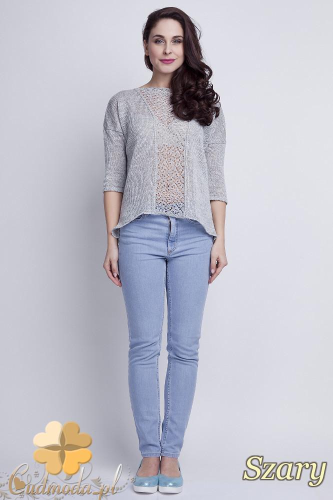 WYCOFANY Asymetryczny damski sweter z rękawem 1/2 - szary