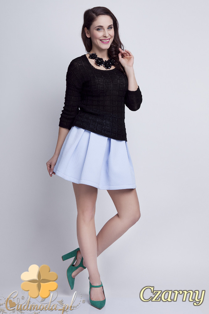 WYCOFANY Klasyczny sweter w kostki z rękawem 3/4 - czarny