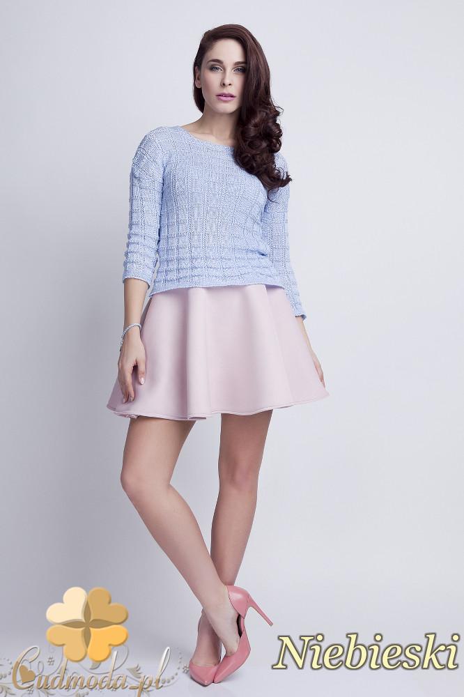 WYCOFANY Klasyczny sweter w kostki z rękawem 3/4 - niebieski