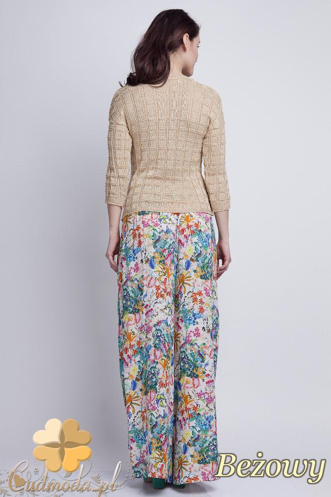 WYCOFANY Klasyczny sweter w kostki z rękawem 3/4 - beżowy