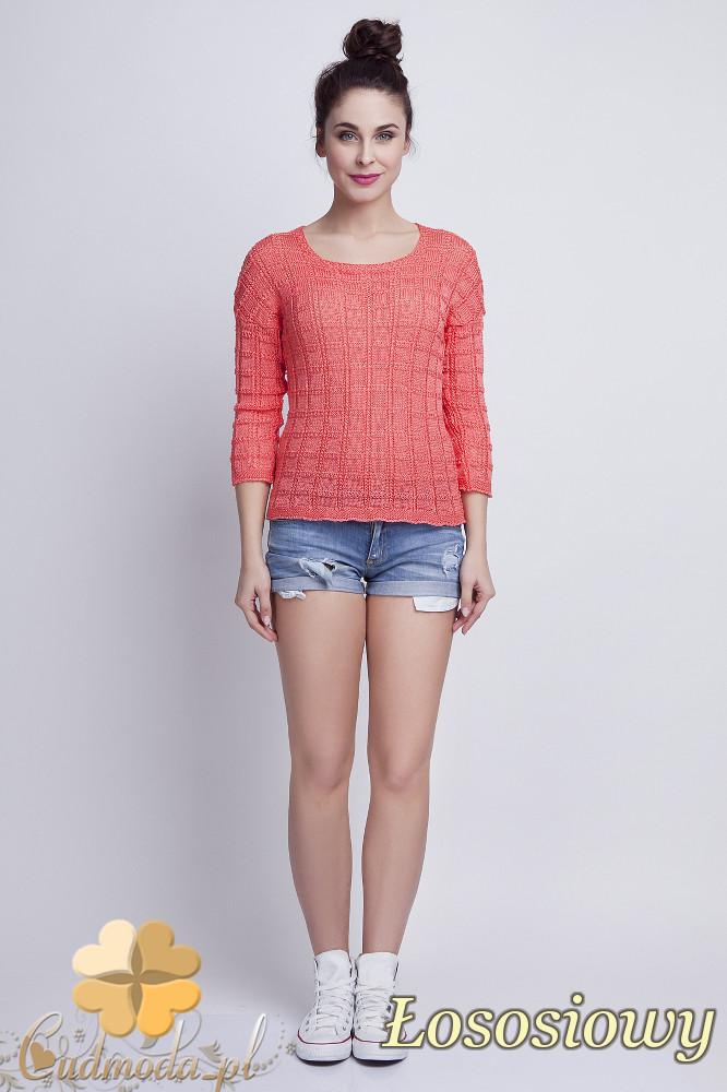 WYCOFANY Klasyczny sweter w kostki z rękawem 3/4 - łososiowy