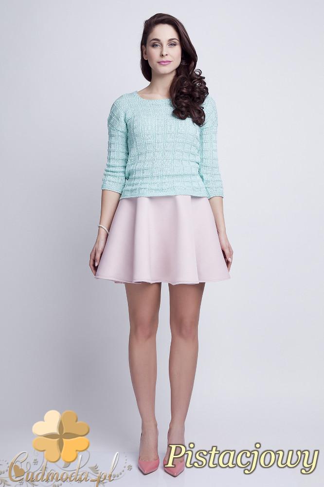 WYCOFANY Klasyczny sweter w kostki z rękawem 3/4 - pistacjowy