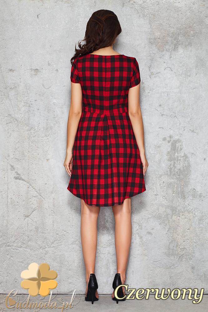 CM1468 Asymetryczna sukienka w kratę przed kolano - czerwona