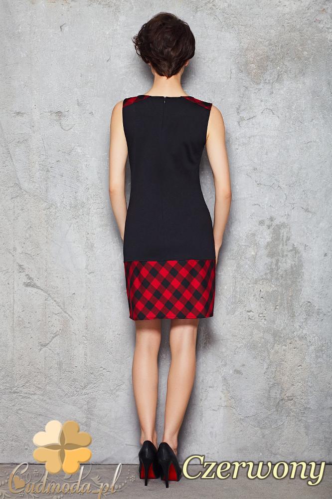 CM1470 Dopasowana sukienka mini w kratę - czerwona