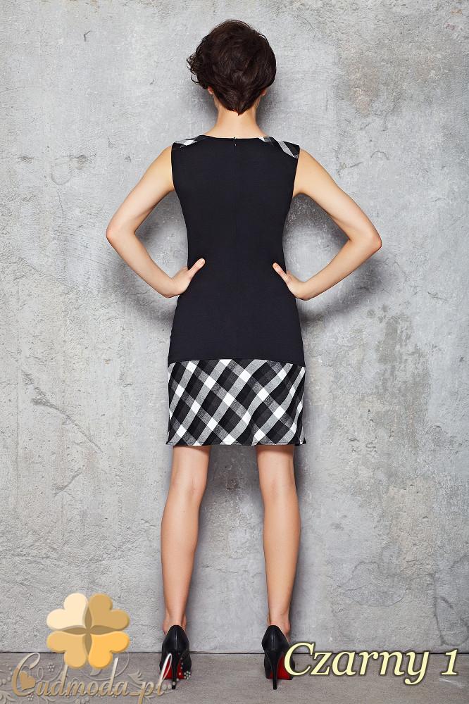CM1470 Dopasowana sukienka mini w kratę - czarna 1