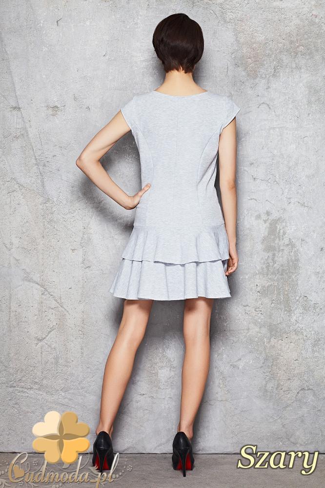 CM1476 Sukienka z krótkim rękawem i falbanką - szara