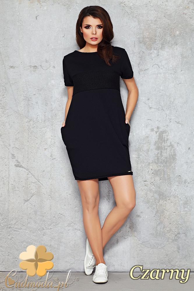 CM1477 Dresowa sukienka-tunika przed kolano - czarna