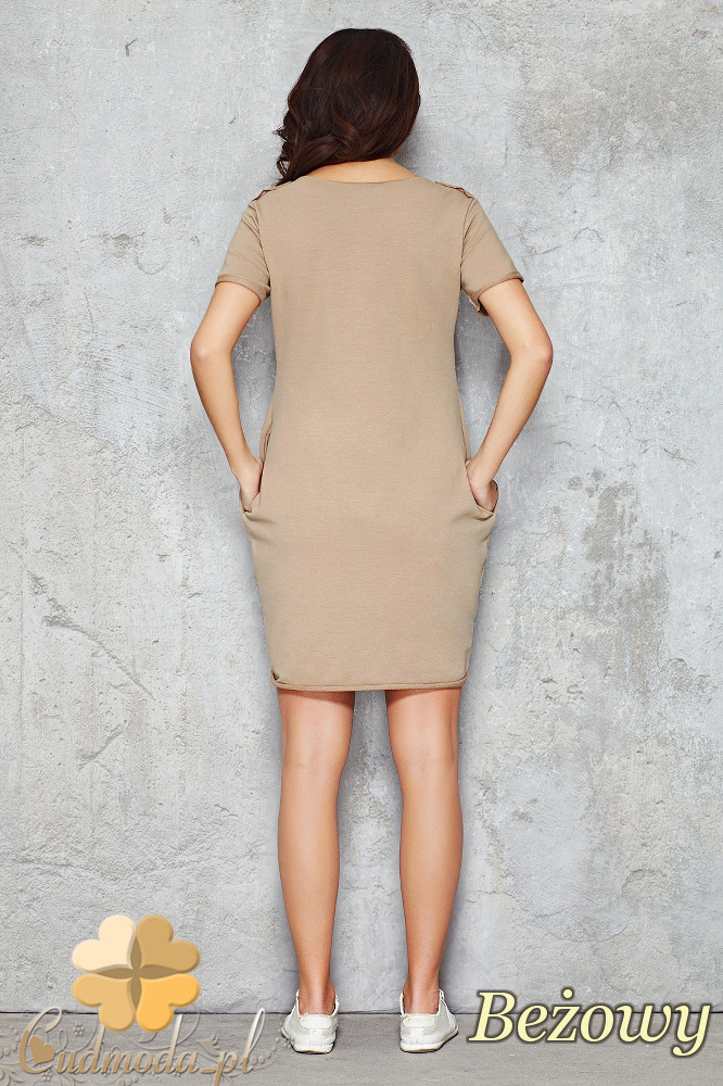 CM1477 Dresowa sukienka-tunika przed kolano - beżowa