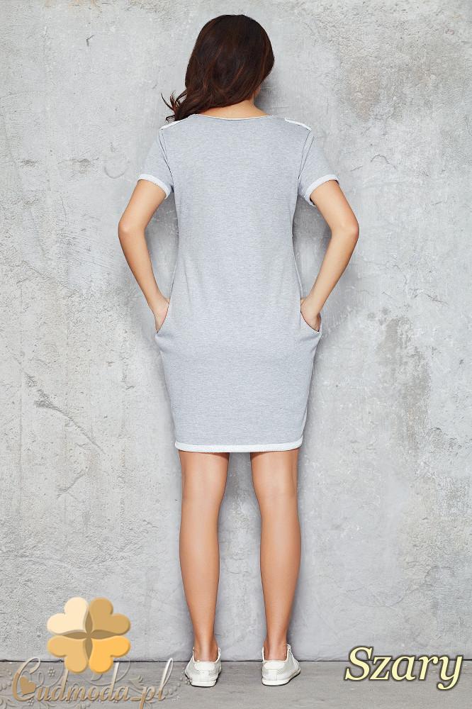 CM1477 Dresowa sukienka-tunika przed kolano - szara