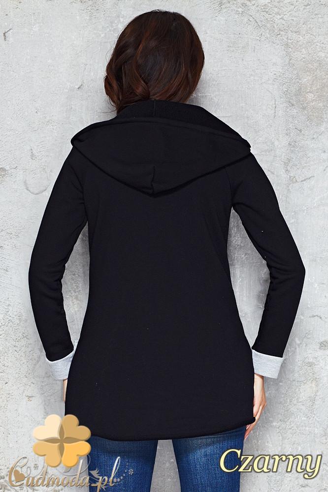 CM1481 Asymetryczna zasuwana bluza damska z kapturem - czarna
