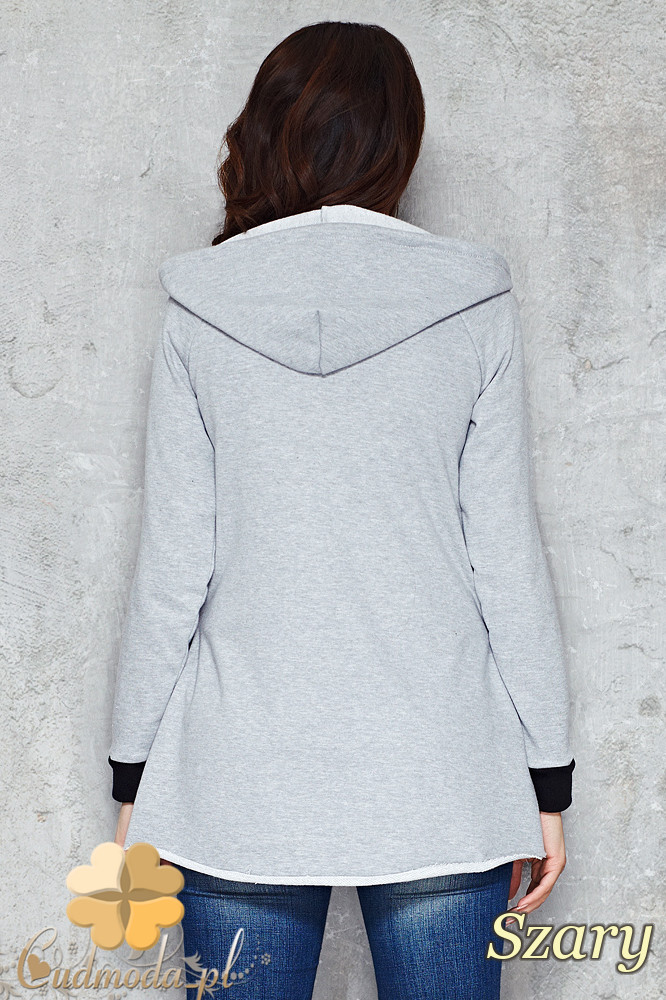CM1481 Asymetryczna zasuwana bluza damska z kapturem - szara