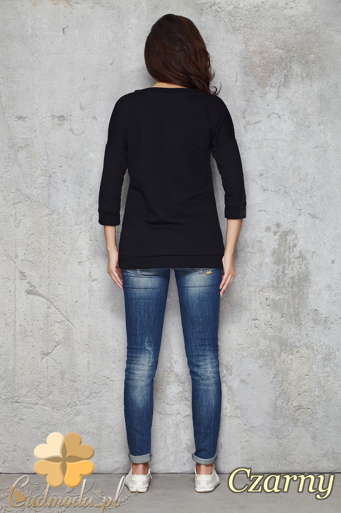 CM1484 Modna bluzka z motywem serca - czarna