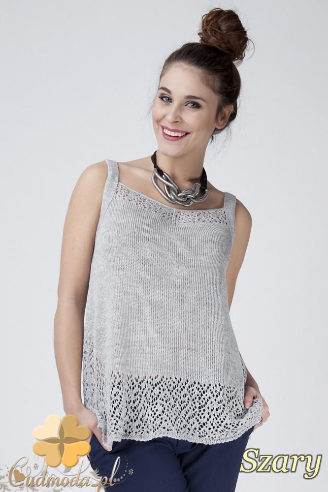 WYCOFANY Ażurowy sweter damski na ramiączkach - szary