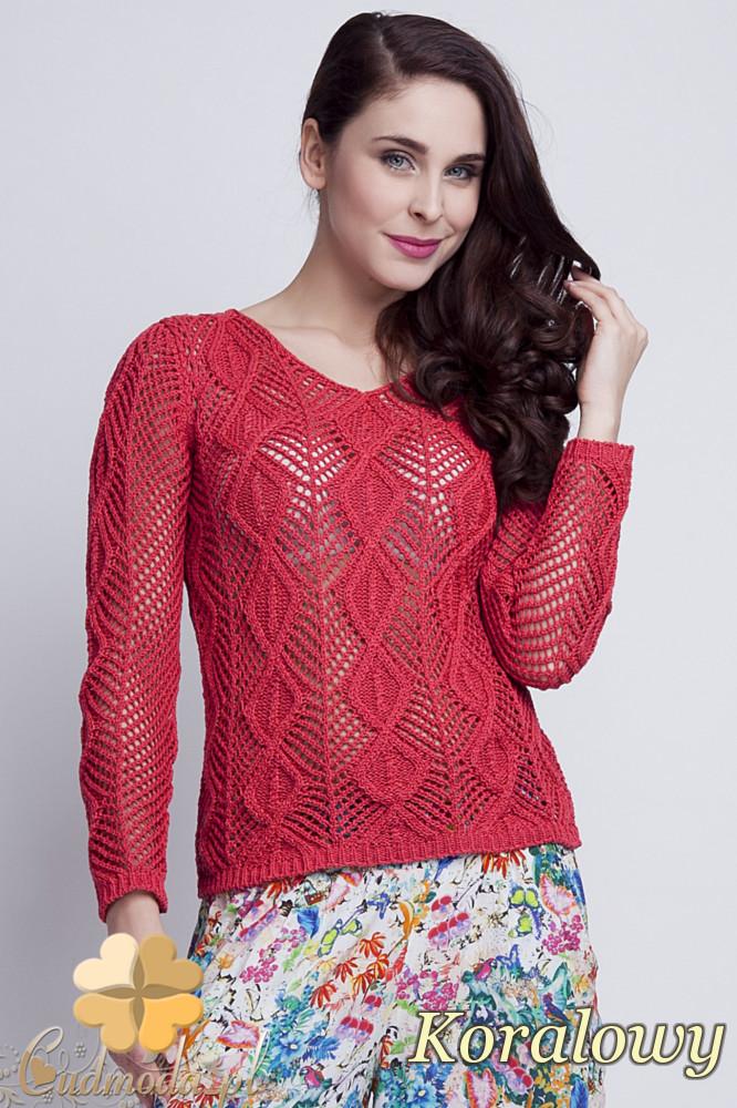 WYCOFANY Damski sweter geometryczny z długim rękawem - koralowy