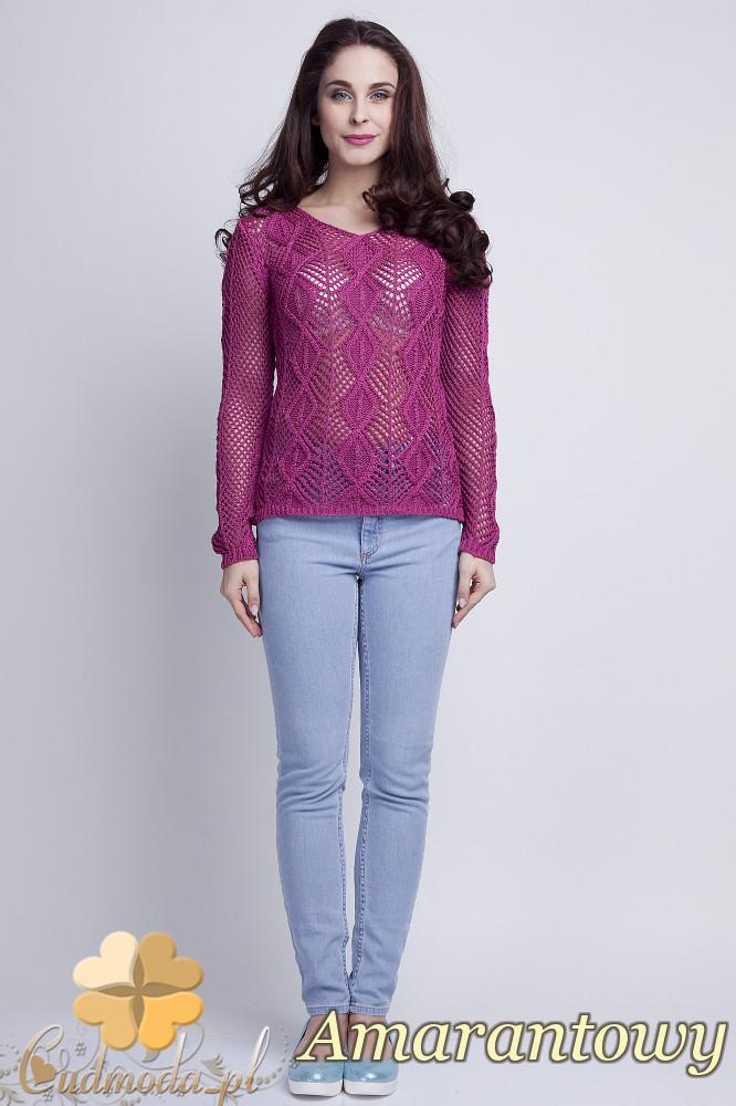 WYCOFANY Damski sweter geometryczny z długim rękawem - amarantowy