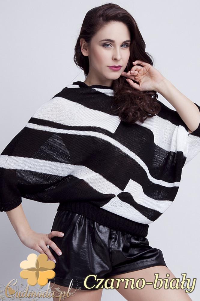 WYCOFANY Luźne kimono damskie w pasy - czarno-białe