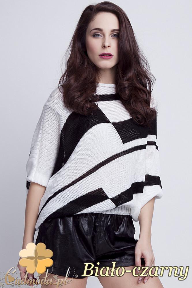 WYCOFANY Luźne kimono damskie w pasy - biało-czarne