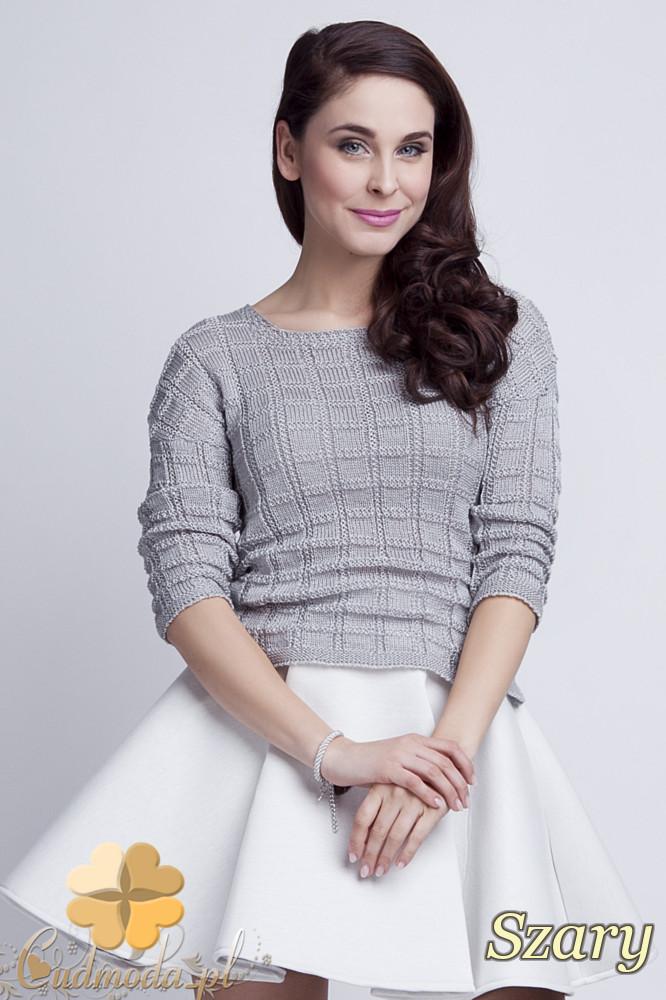 WYCOFANY Klasyczny sweter w kostki z rękawem 3/4 - szary