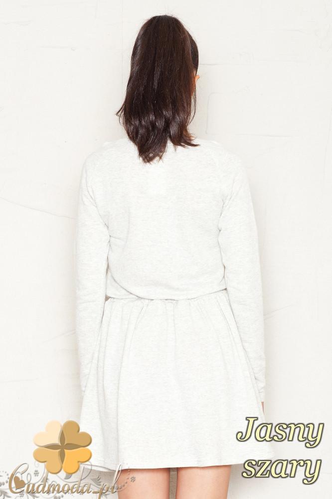 CM1179 Dresowa sukienka z dekoltem opadającym na ramiona - jasna szara