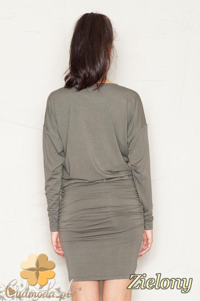 CM1403 Sukienka wielkości mini z marszczeniami - zielona