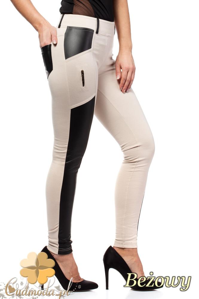 CM1605 Dopasowane legginsy damskie ze skórzanymi wstawkami - beżowe