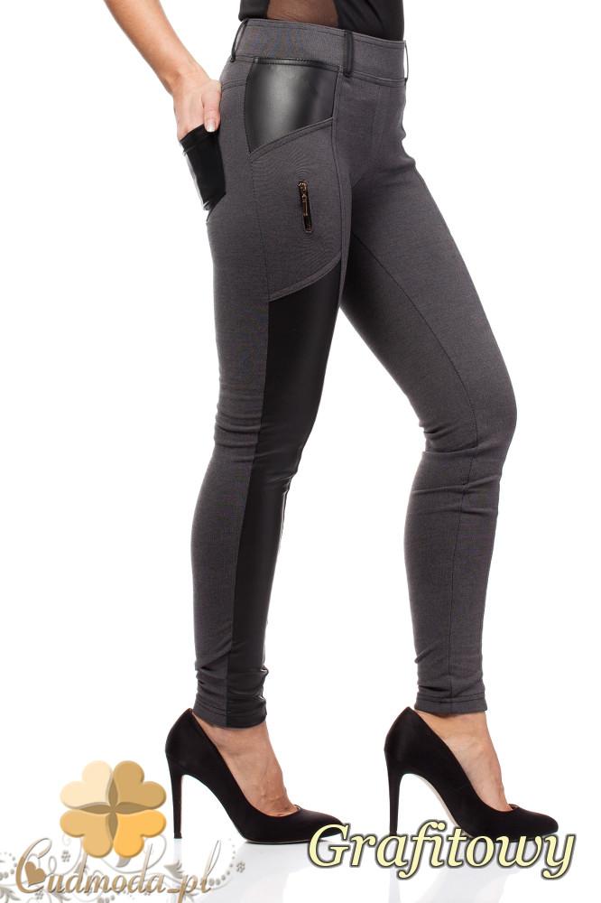 CM1605 Dopasowane legginsy damskie ze skórzanymi wstawkami - grafitowe