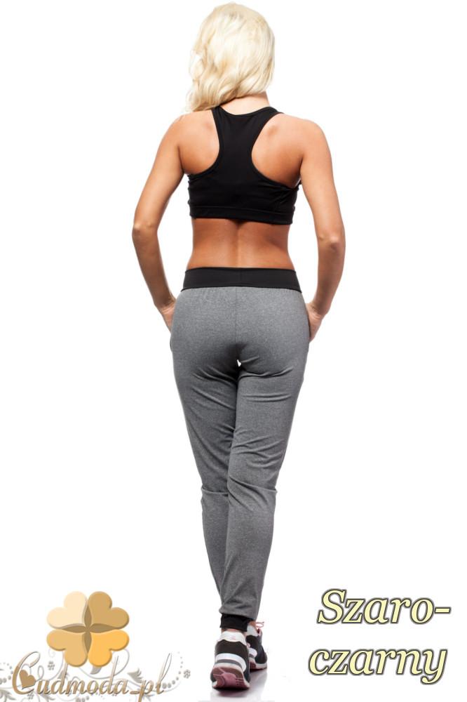 CM1568 Sportowe spodnie damskie z kontrastowym pasem i lamówkami - szaro-czarne OUTLET