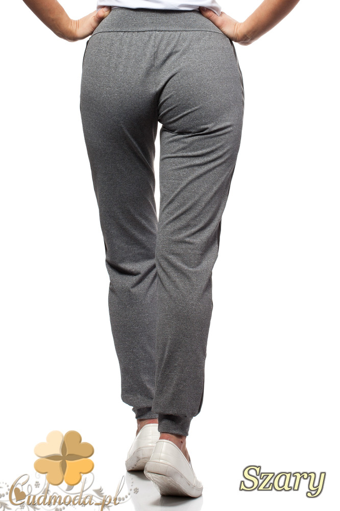 CM1569 Sportowe spodnie damskie z lampasem - szare OUTLET