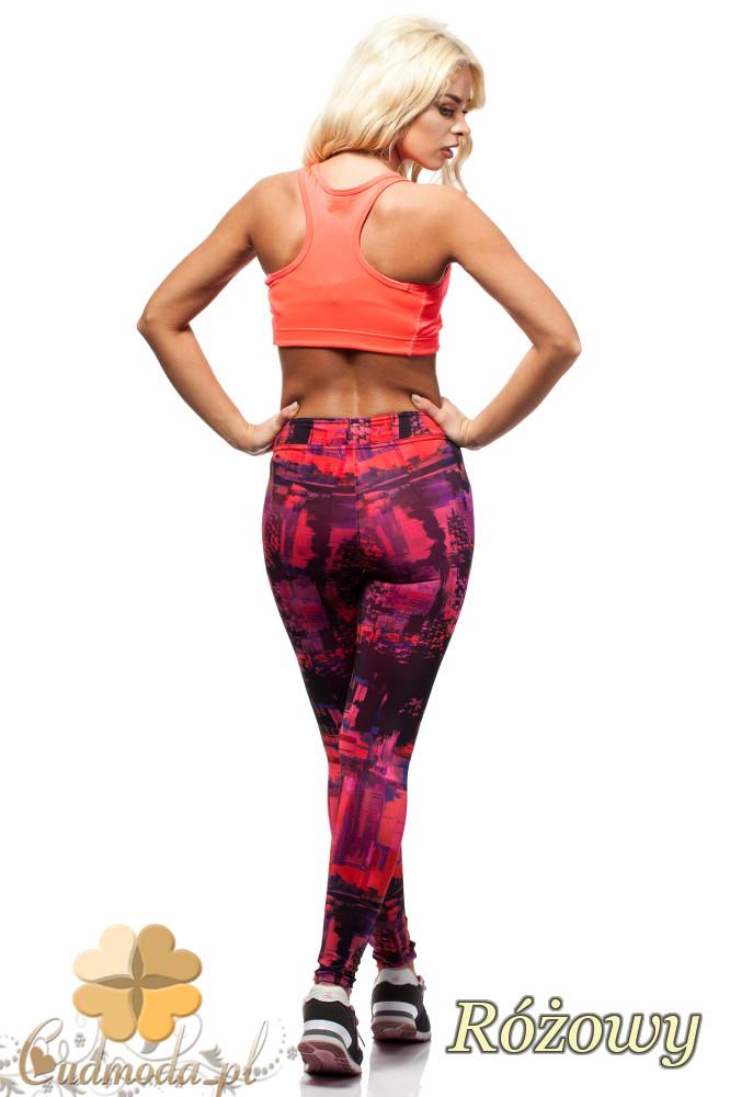 CM1564 Elastyczne sportowe legginsy fitness - różowe