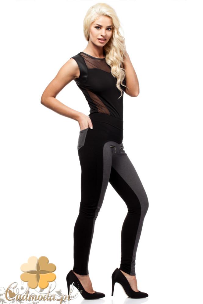 CM1561 Dopasowane dwukolorowe legginsy z kieszeniami - czarne