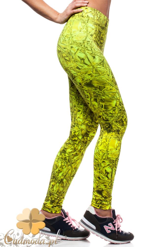 CM1565 Dopasowane legginsy neonowe - limonkowe