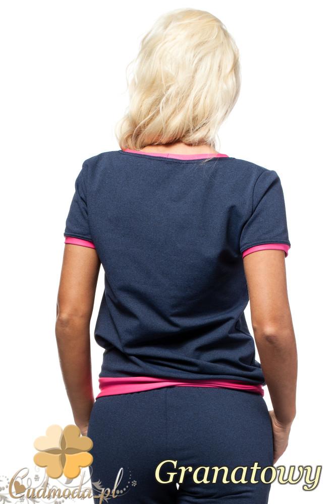 WYCOFANY Modna damska bluzka ze wstawką z krótkim rękawem - granatowa