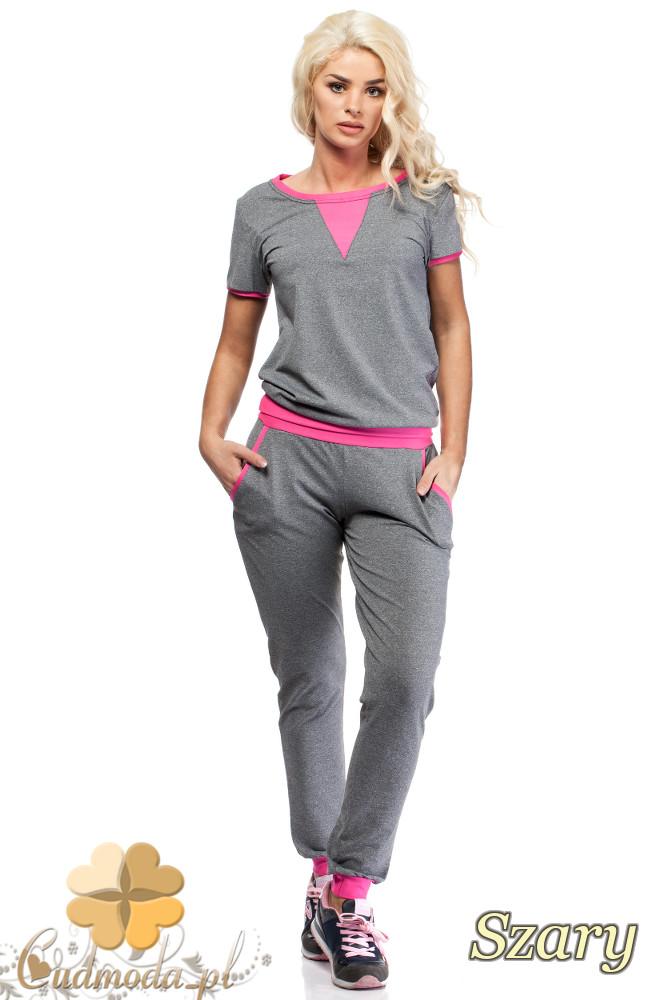 CM1577 Modna damska bluzka ze wstawką z krótkim rękawem - szaro-różowa