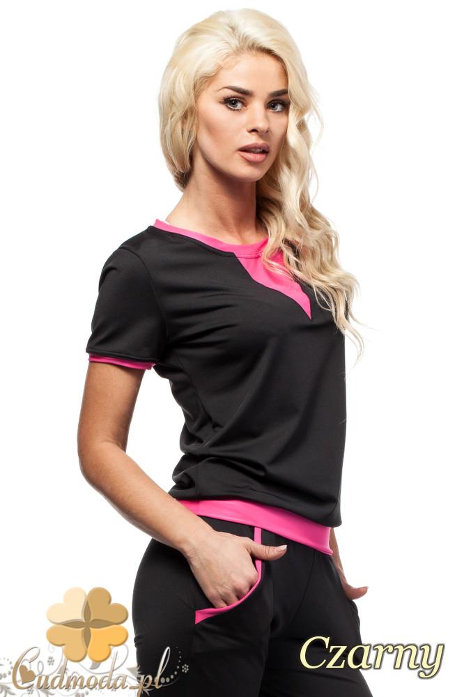 CM1575 Modna damska bluzka ze wstawką z krótkim rękawem - czarna